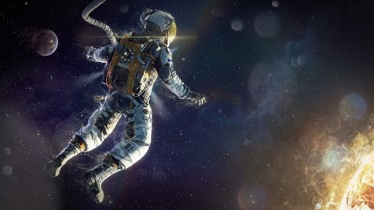 Astronaut floating in space blurred logo